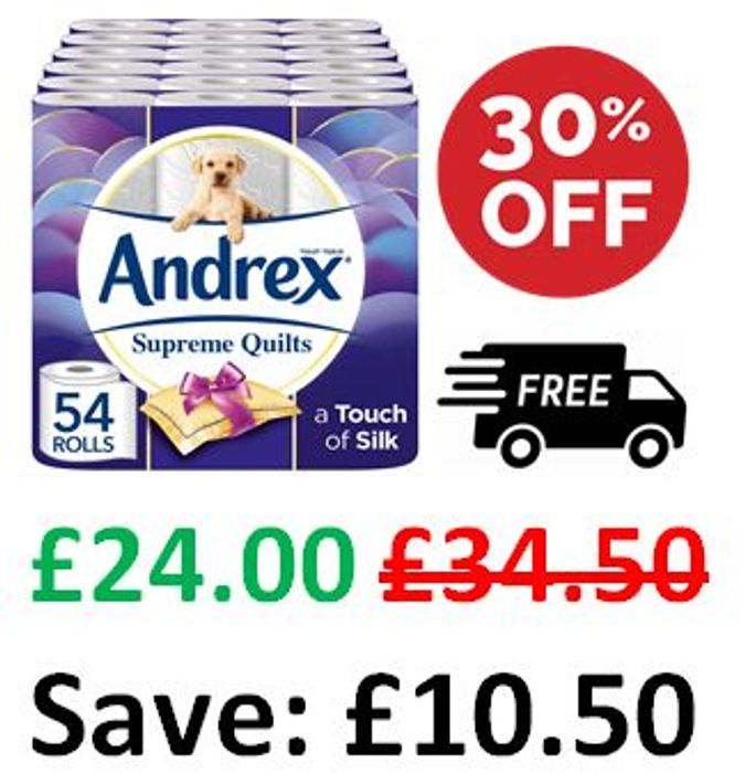 SAVE £10.50 - 54 Andrex Supreme Quilts Toilet Rolls + FREE DELIVERY