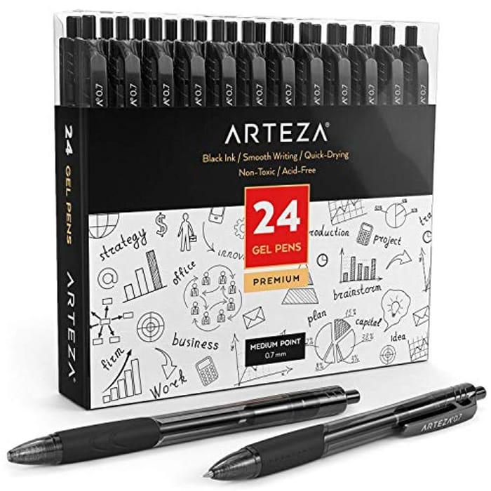 Arteza Gel Ink Roller Ball Retractable Pens, Set of 24 Quick-Dry Black