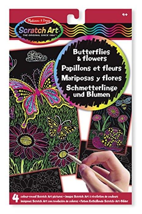 Melissa & Doug Scratch Art. Butterflies and Flowers - 4 Boards, Wooden Stylus