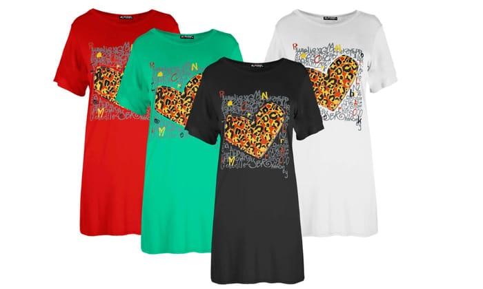 Oops Tiger Print Heart T-Shirt Dress at Groupon