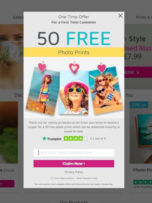 Free 50 Free Prints on Printerpix