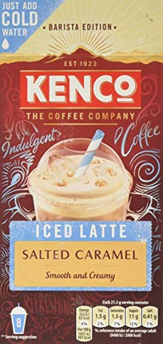 Kenco Iced Latte Salted Caramel Instant Coffee (8 Sachets), X5 Boxes 230g