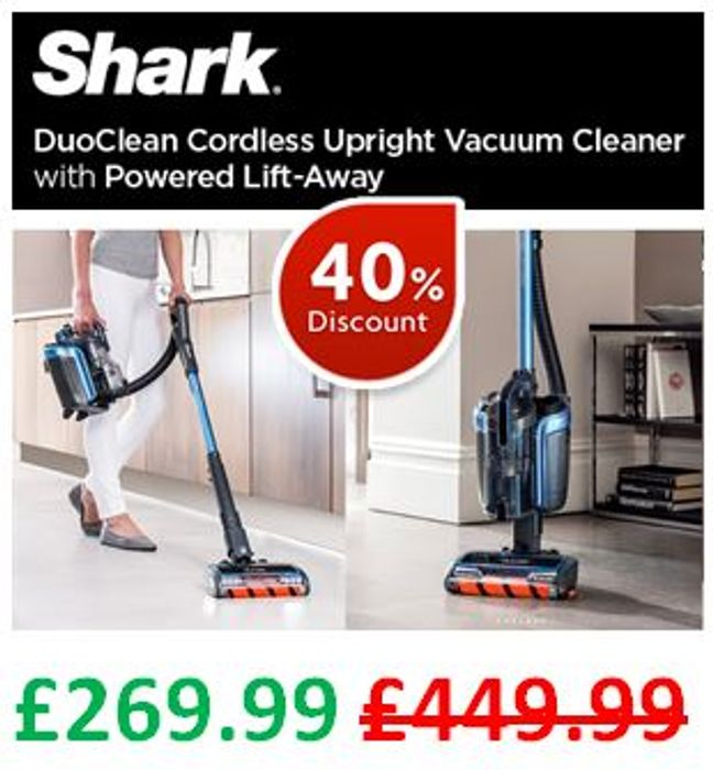 SAVE £180. Shark DuoClean CORDLESS Upright Vacuum Cleaner, Powered Lift-Away