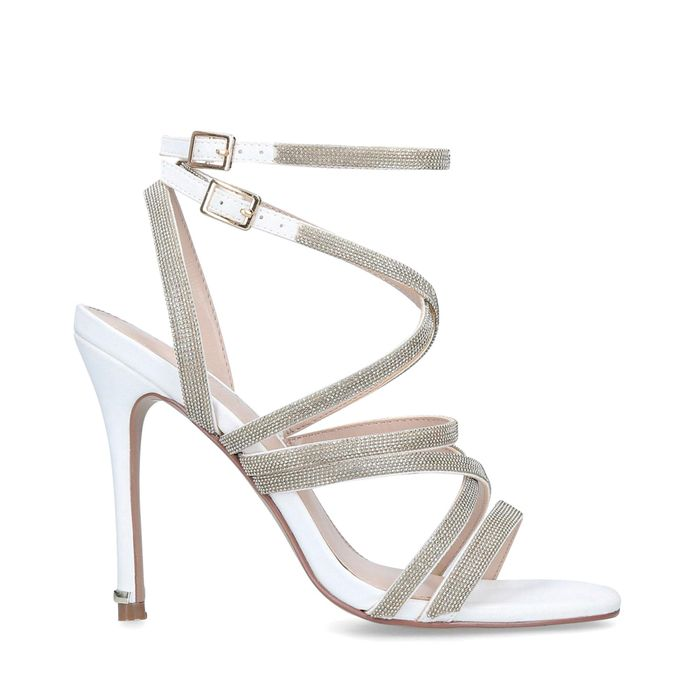 Carvela - White 'Game' Embellished Stiletto Heel Strappy Sandals +Free Delivery