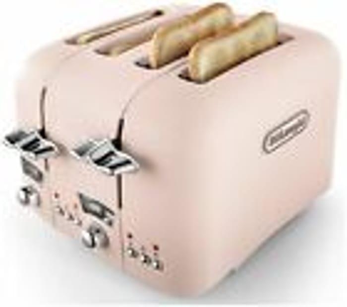 De'Longhi CTO4.PK Argento Flora 1800W 4 Slice Wide Slot Toaster