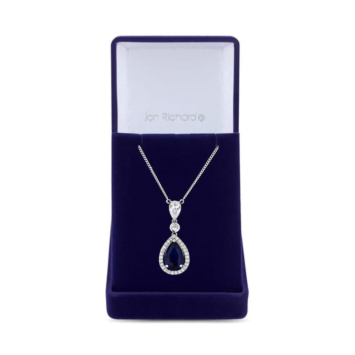 Cubic Zirconia Sapphire Blue Drop Necklace