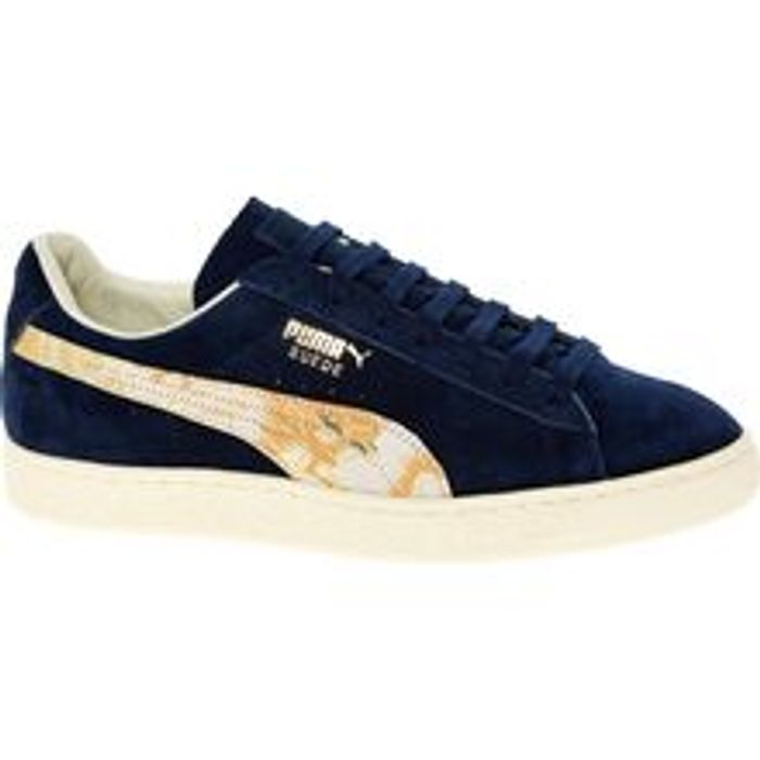 PUMA Navy Suede Team Gold Trainers