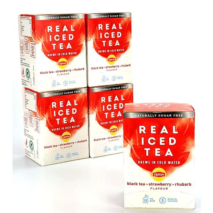 CHEAP! 5 X Lipton Real Iced Tea Strawberry + Rhubarb 33g Boxes