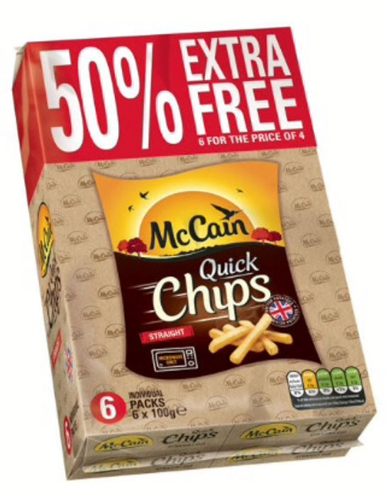 50% Free McCain Quick Chips Straight 6 X 100g (600g) & Crinkle Cut