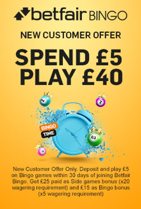 Spend £5 Play £40 on Bingo at Betfair - New Customers Only