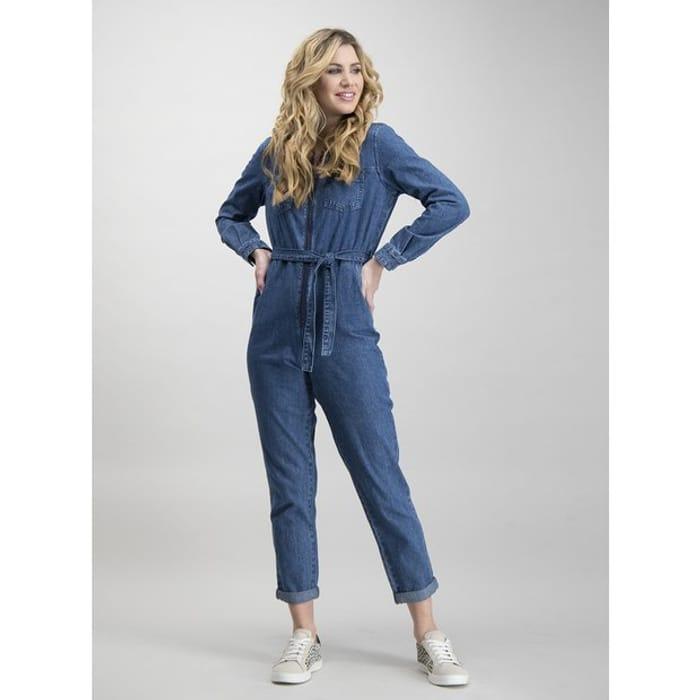 Blue Denim Zip-through Belted Boilersuit