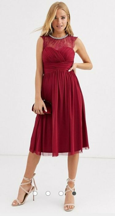Lipsy Ruched Midi Dress with Lace Yolk and Embellished Neck