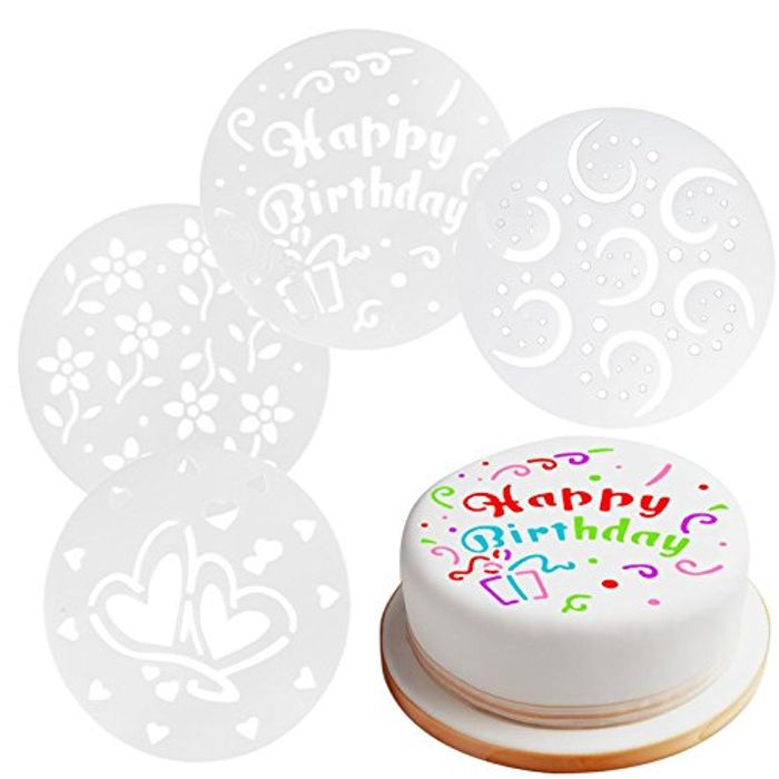 15cm Reusable Cake Decorating Stencils Set of 4