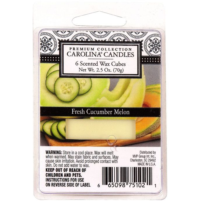 Carolina Candles Cucumber Melon Scented Wax Melt 6 Cubes