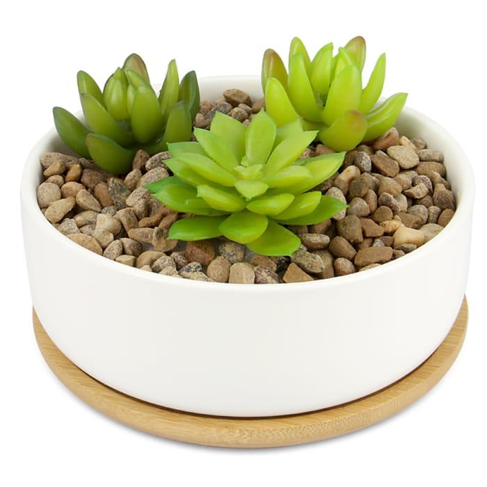 Ceramic Planter & Bamboo Base | M&W Round