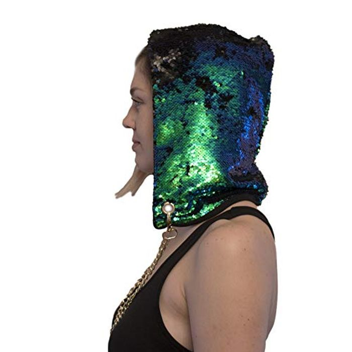 CHEAP!! ASVP Shop. Rave Hood Mermaid Sequin Hat Magical Reversible Sequins
