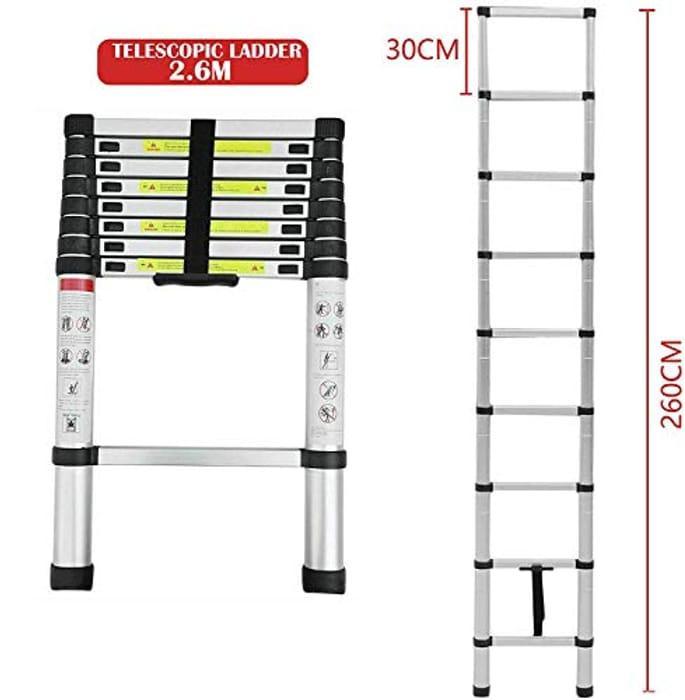 Mult-Purpose Telescopic Folding Ladder 2.6m Aluminium Extension Ladder