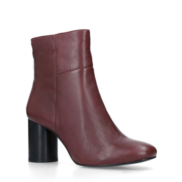 Carvela - Wine 'Pop' Leather Ankle Boots Free Delivery