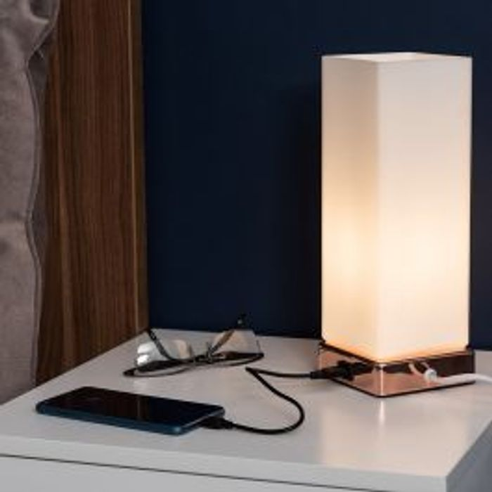 Lazio Copper and White Touch Table Lamp with Usb Port
