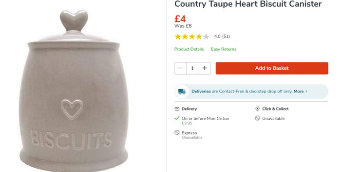 Country Taupe Heart Biscuit Canister