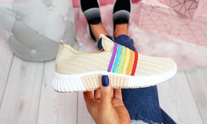 CHEAP! Rainbow Knitted Slip-on Trainers Lots of Colours to Choose (+£1.99 P&p)
