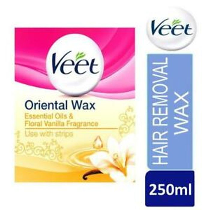Veet Oriental Wax Strips Essential Oils and Floral Vanilla Wax Jar 250ml