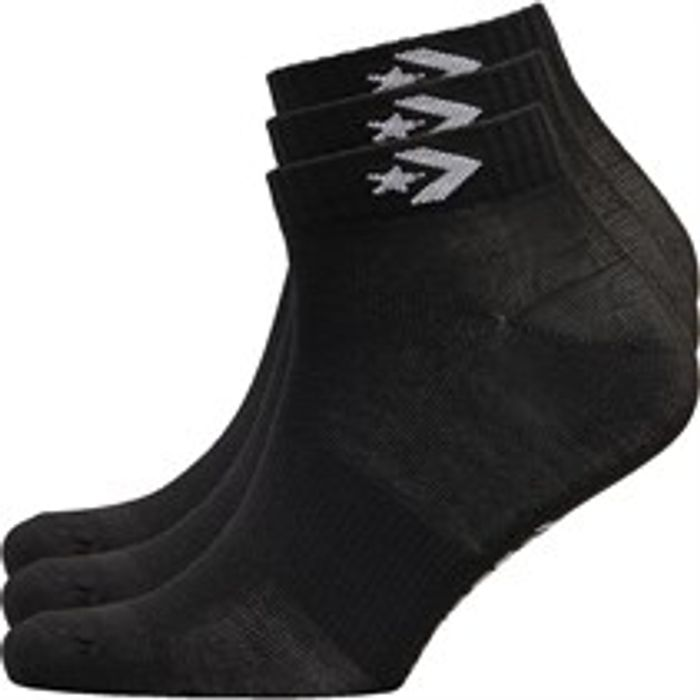 Converse Three Pack Quarter Socks Black