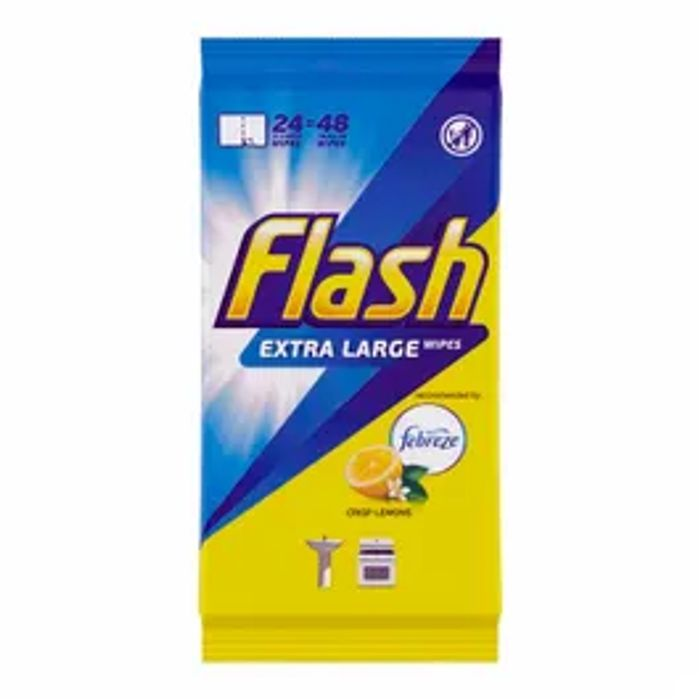 Flash Multi-Purpose Anti-Bacterial Cleaning Wipes Lemon 24 Pack
