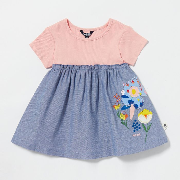 Maine New England - Baby Girls' Pink Floral Applique Dress