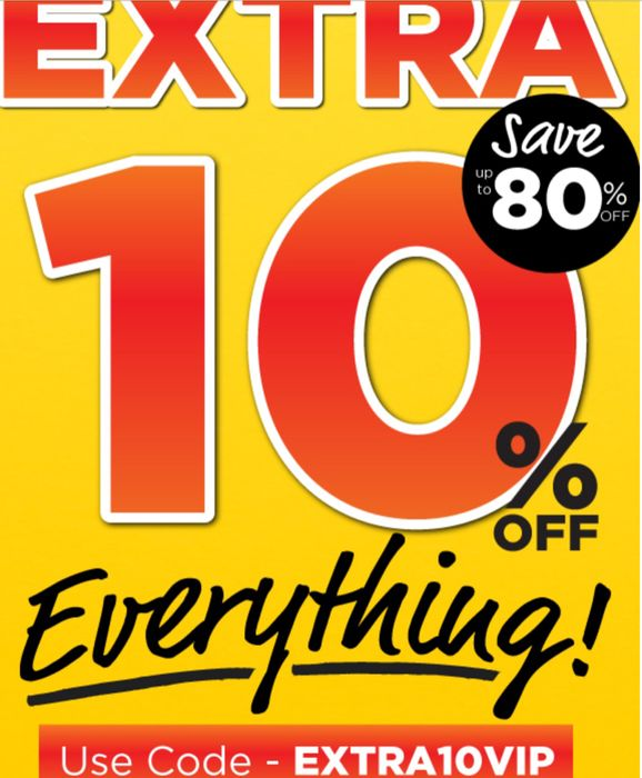 Extra 10% off everything - Up to 80% Off