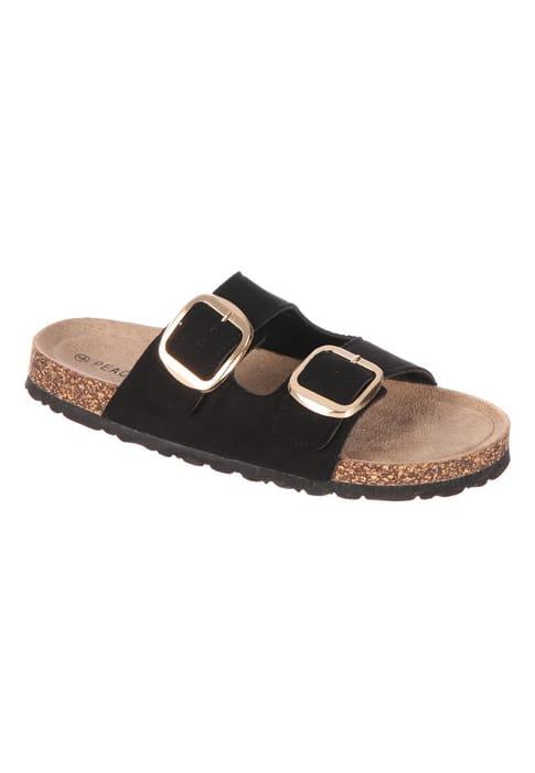 Womens Black Buckle Sandals