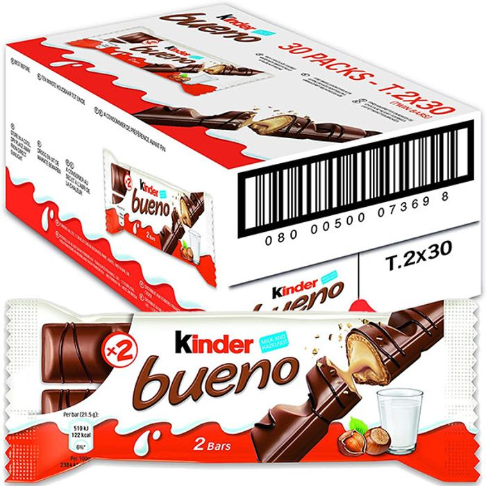30 X Kinder Bueno Milk Chocolate 43g Bars