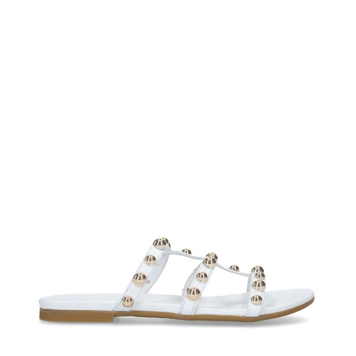 Carvela - White 'Kaddie' Embellished Flat Sandals