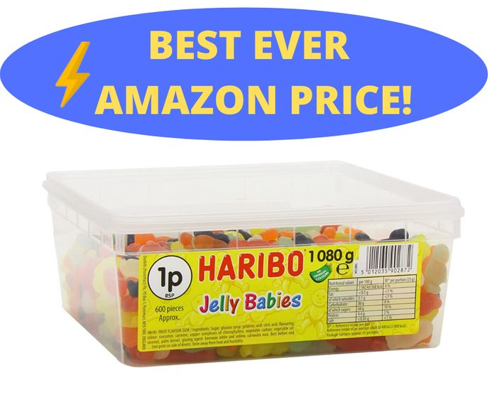 HARIBO Jelly Babies Jelly Men, Bulk Sweets, 2 X 1080g Tubs