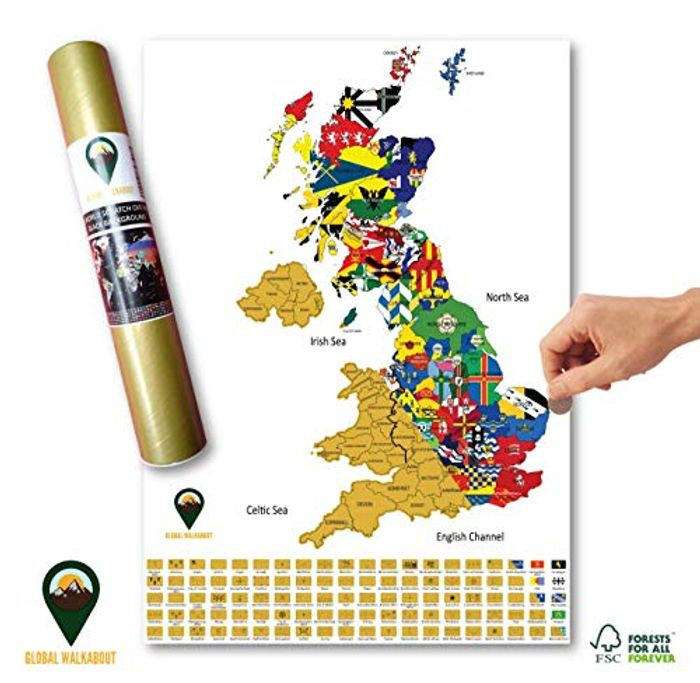 Scratch off UK Map with Flags Background - Deluxe Travel Size UK Map Poste