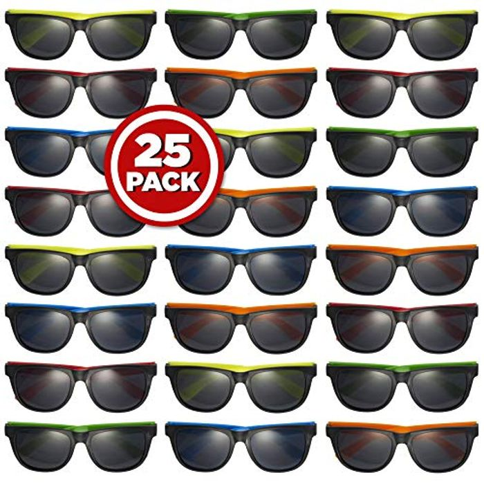 Prextex 25 Pack UV Protected Neon Sunglasses