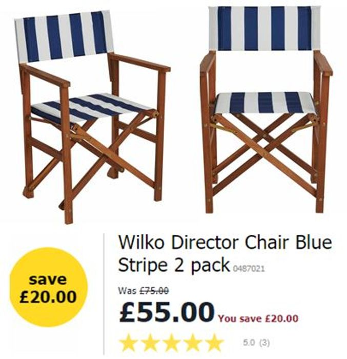 SAVE £20 - Wilko Director Chairs - 2 Pack