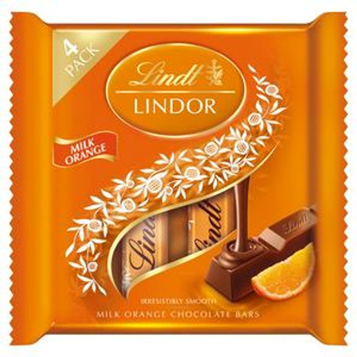 Lindt Lindor Milk Orange Chocolate Bars 4x25g