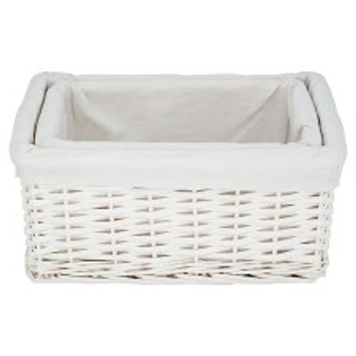 A Set Of 2 Split Willow Lined Baskets In White *HALF PRICE AT TESCO!