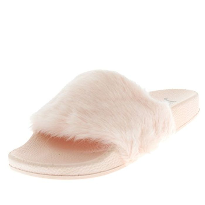 Best Price! Chic Summer Single Strap Open Toe Fluffy Flat EVA Fashion Sandals