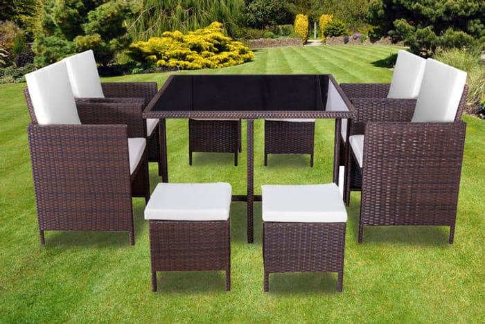 9pc Rattan Cube Garden Furniture Dining Set - 2 Colours!