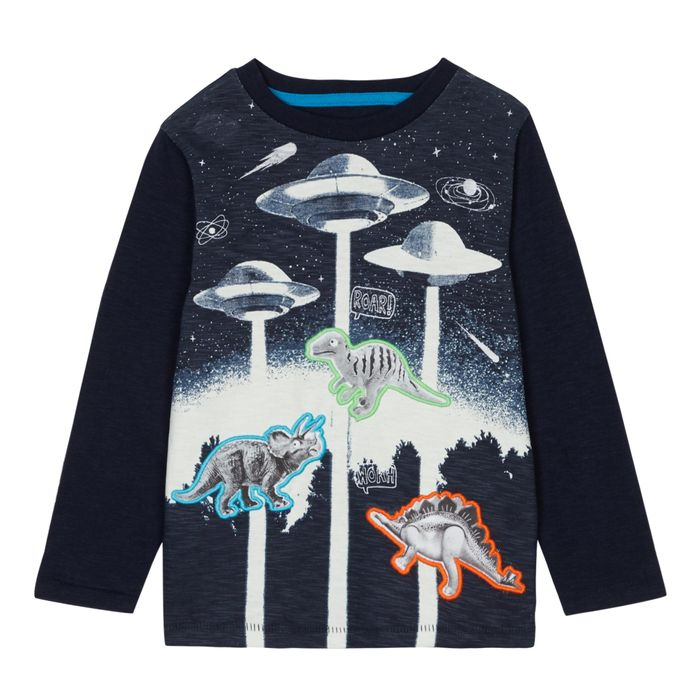 Bluezoo - Boys' Navy Ufo Dinosaur Print Cotton Top