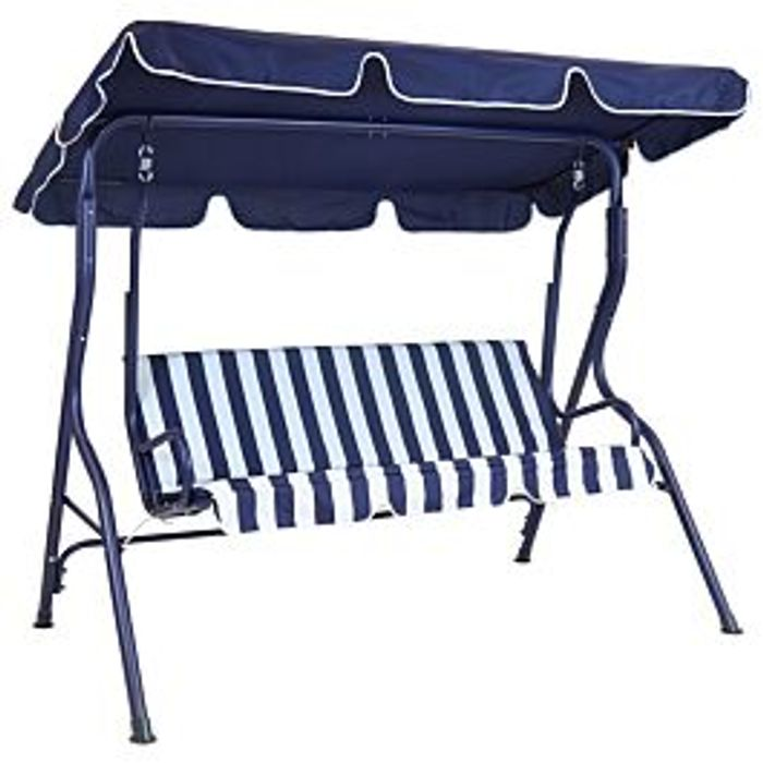 Charles Bentley 2 Seater Swing Seat - Blue & White Striped