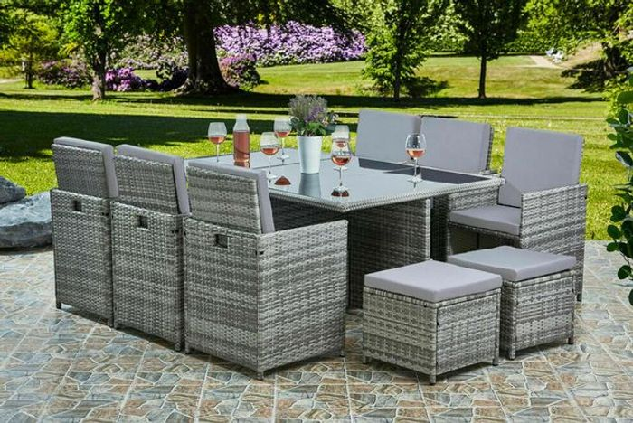 10-Seater Cube Rattan Garden Furniture Set - 3 Colours!