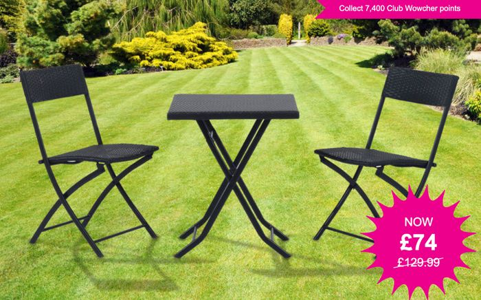 3 Piece Black Rattan Garden Furniture Set - Lovely for Patios