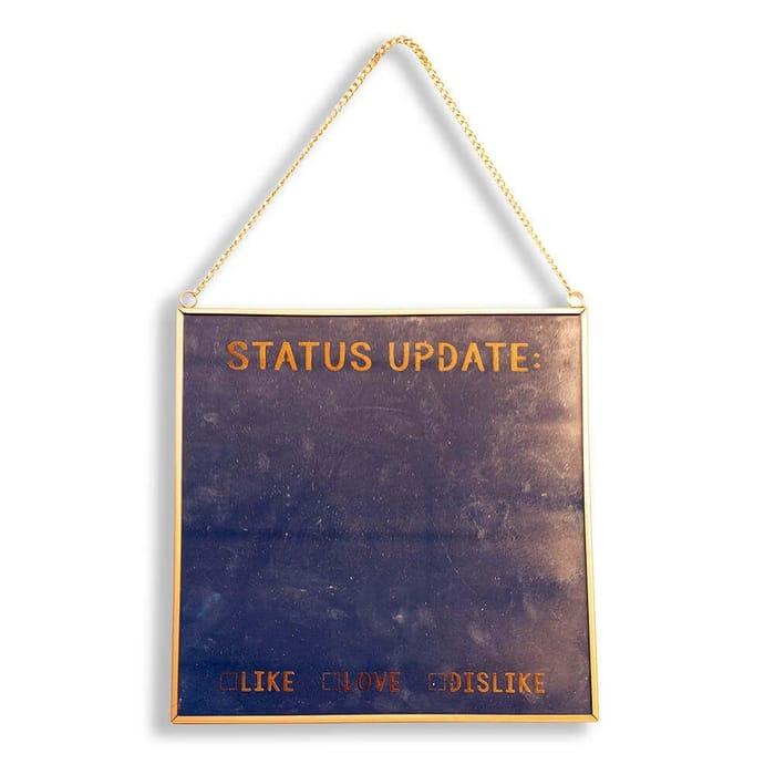 Status Update Glass Mirror