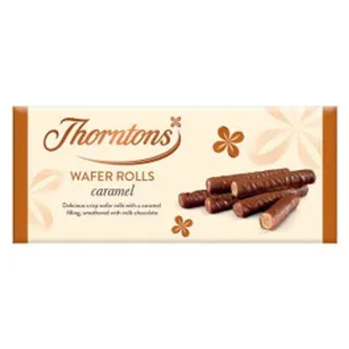 Cheap Thornton's Caramel Wafer Rolls 110g Only £1!