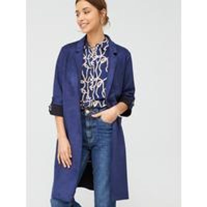 V by Very Suedette Chuck on Coat - Navy