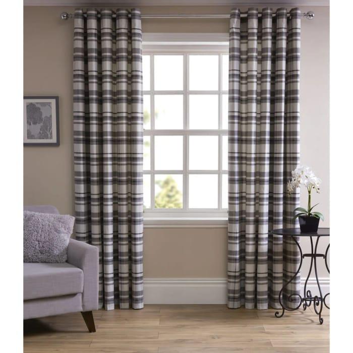 HALF PRICE Wilko Grey Printed Check Curtains 167 Wx 183cm D