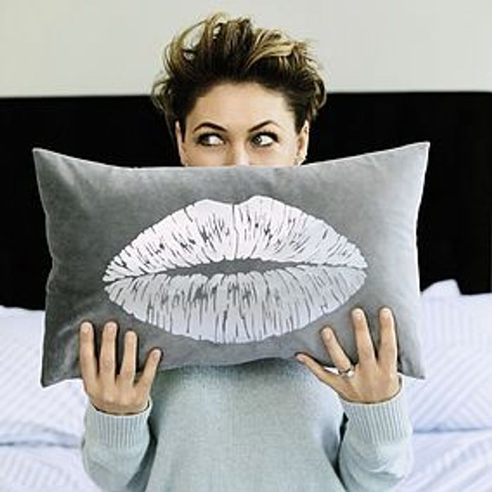 Emma Willis Grey Foil Lips Cushion Half Price